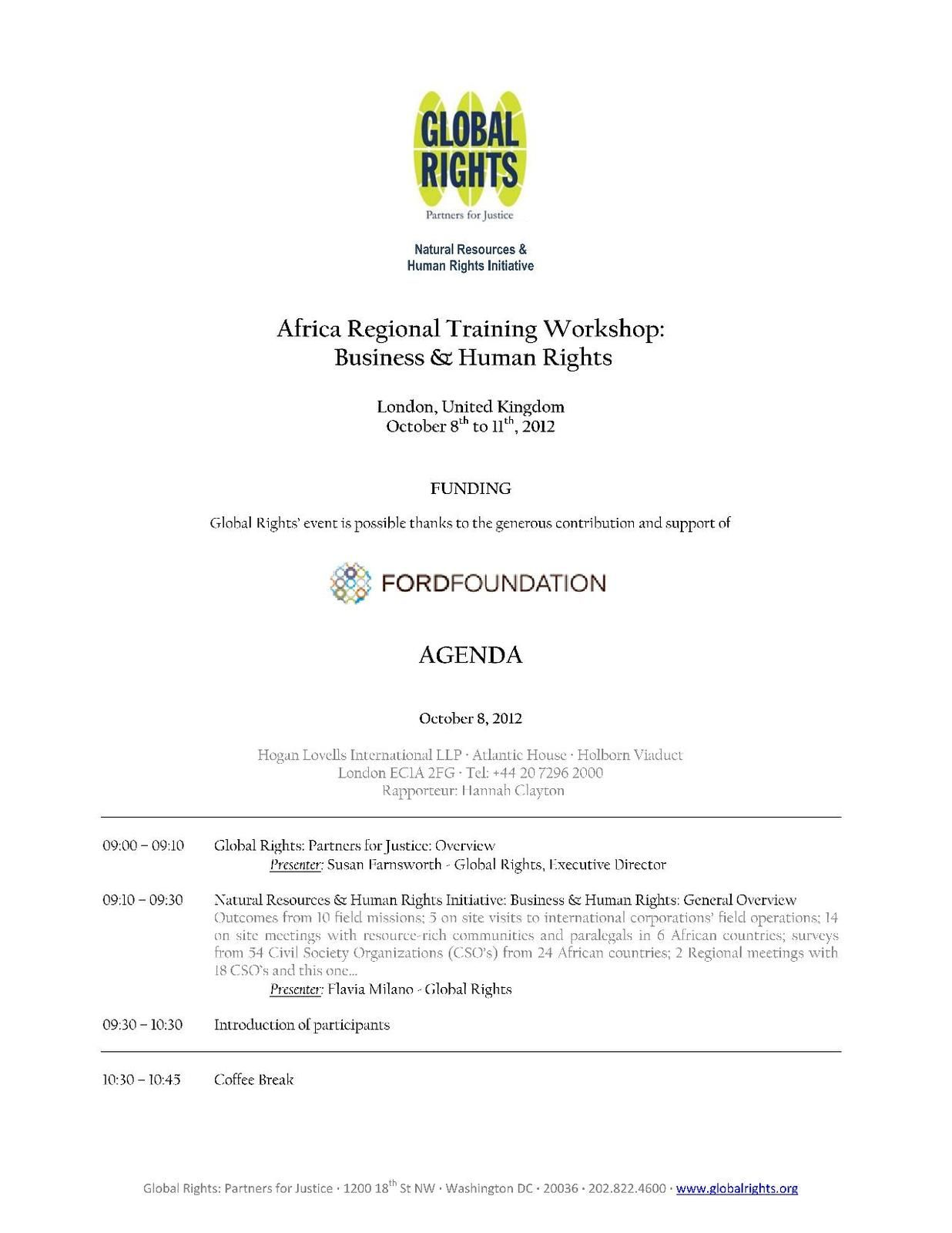 Africa Regional Training workshop on Business and Human rights