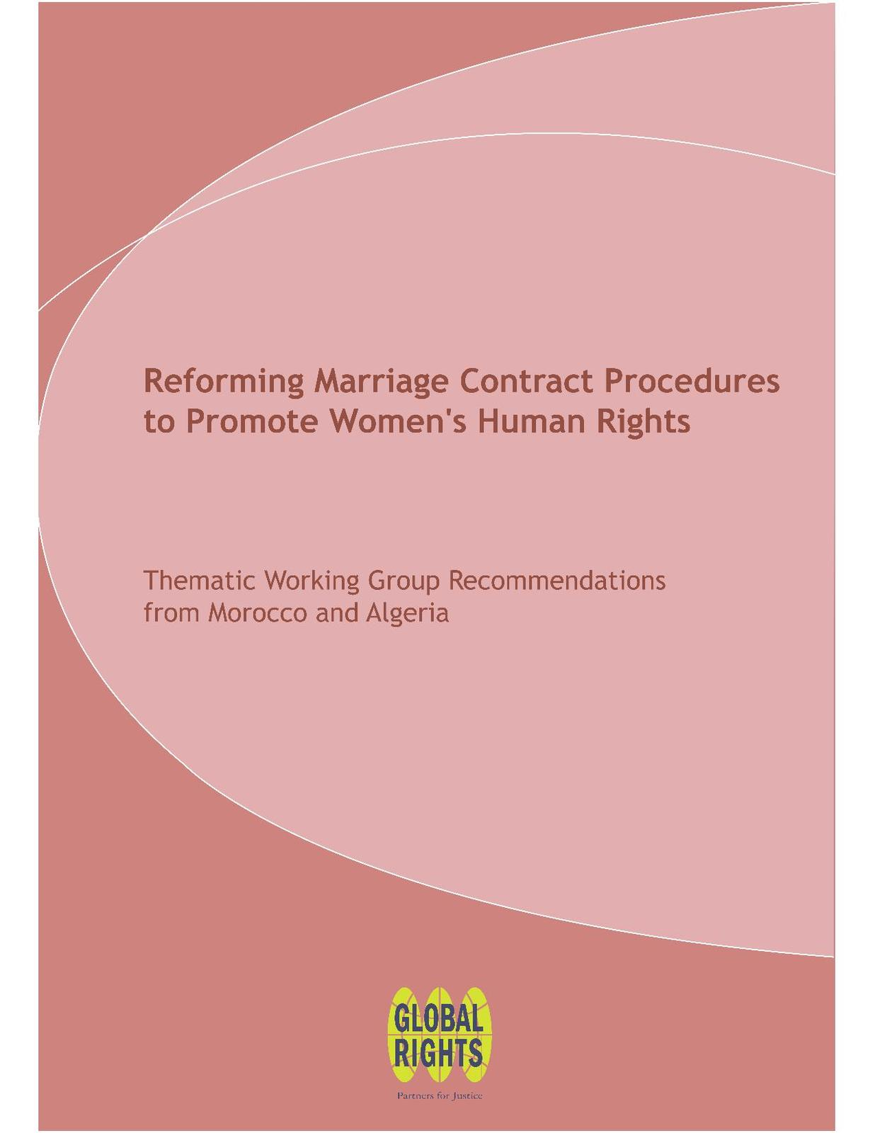 Reforming Marriage Contract Procedures to Promote Women's Human Rights