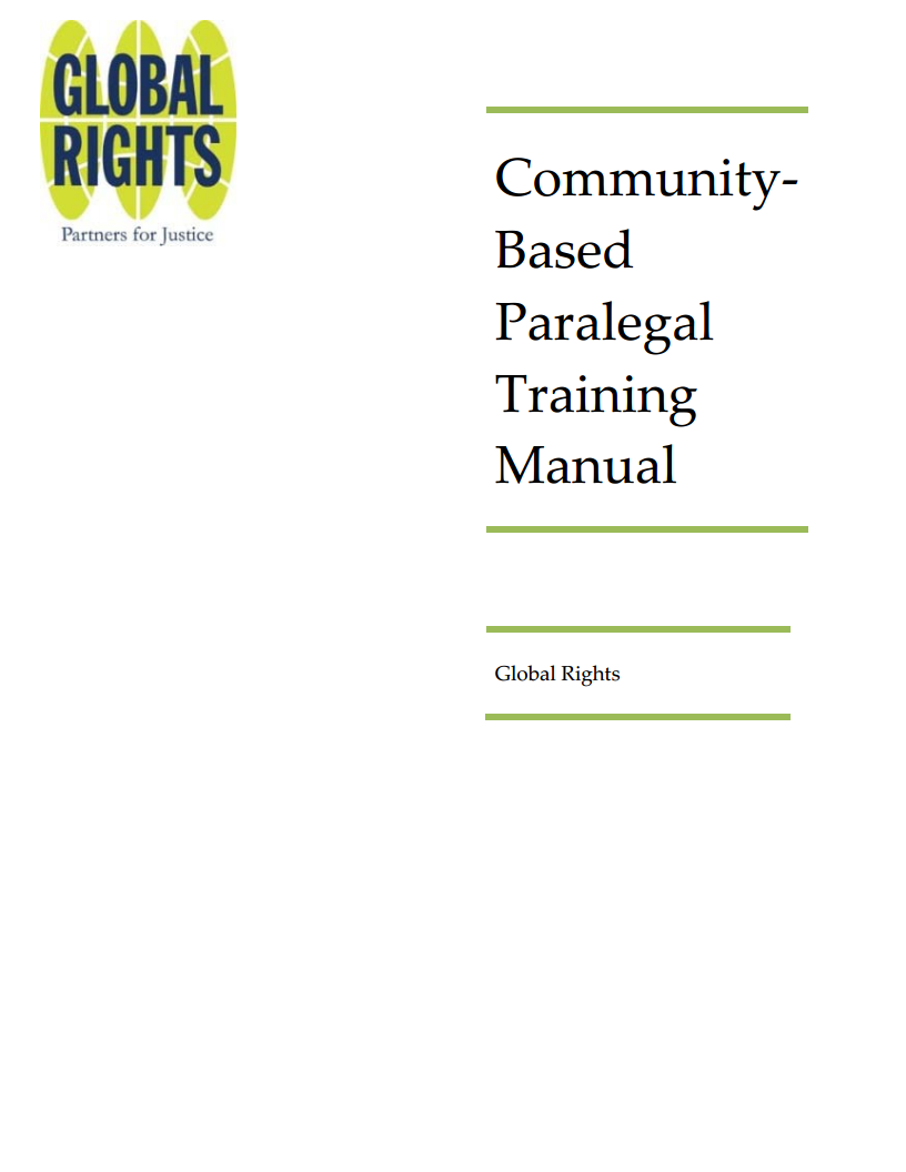 Community Based Paralegal Training Manual - 2021 Version