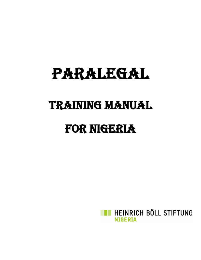 Para-Legal Training Manual - Harmonised