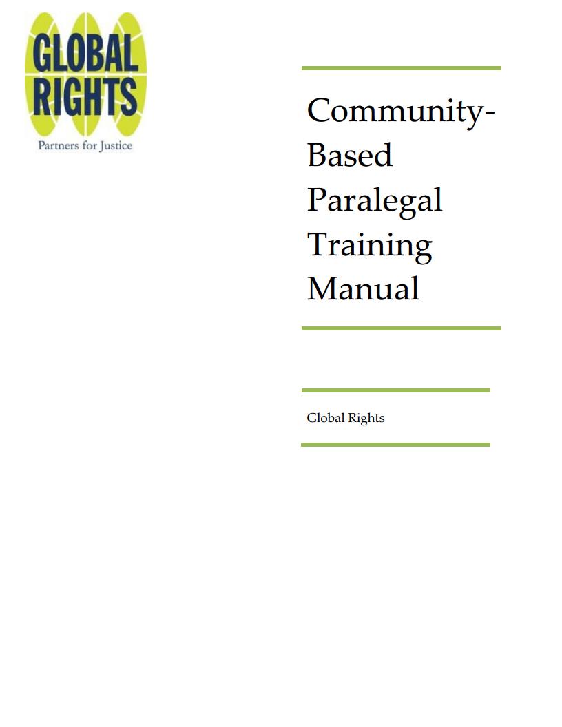 Community Based Para-Legal Training Manual